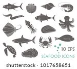icons of fish and seafood. flat ... | Shutterstock .eps vector #1017658651
