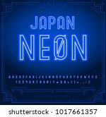 bright neon alphabet letters ... | Shutterstock .eps vector #1017661357