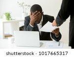 frustrated upset african... | Shutterstock . vector #1017665317