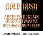 gold 3d broadway alphabet. on... | Shutterstock .eps vector #1017666001
