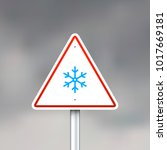 vector road sign with snowflake ... | Shutterstock .eps vector #1017669181