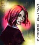 beautiful girl with short pink... | Shutterstock . vector #1017675205