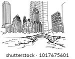hand drawn sketch of central... | Shutterstock .eps vector #1017675601