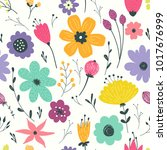 hand drawn flower background... | Shutterstock . vector #1017676999