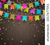 multicolored flags garlands and ... | Shutterstock .eps vector #1017677551