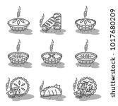 meat pie  roll  quiche vector...   Shutterstock .eps vector #1017680209