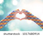 world autism awareness day ... | Shutterstock . vector #1017680914