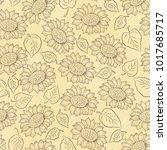 Sunflower Line Vector Seamless...