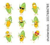 funny corn   vector isolated... | Shutterstock .eps vector #1017686785