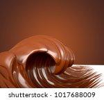 the sea of chocolate. a splash... | Shutterstock . vector #1017688009