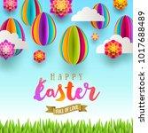 easter greeting card   easter...   Shutterstock .eps vector #1017688489