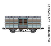 cattle wagon car vector | Shutterstock .eps vector #1017690319