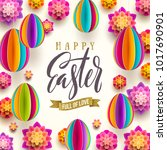 easter greeting card   easter... | Shutterstock .eps vector #1017690901