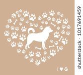 shiba inu silhouette on a... | Shutterstock .eps vector #1017691459