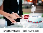 the newlyweds cut a piece of... | Shutterstock . vector #1017691531