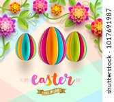 easter greeting card   colorful ... | Shutterstock .eps vector #1017691987