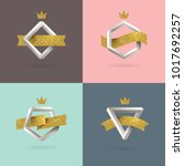set of abstract emblem with... | Shutterstock .eps vector #1017692257