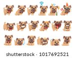 little pet pug dog puppy with... | Shutterstock .eps vector #1017692521