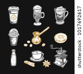 coffee sketch icons set.... | Shutterstock .eps vector #1017692617