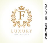 luxury f letter and crown... | Shutterstock .eps vector #1017692965