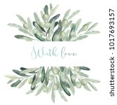 watercolor olive floral... | Shutterstock . vector #1017693157