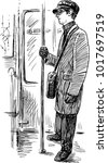 sketch of an casual passenger... | Shutterstock .eps vector #1017697519
