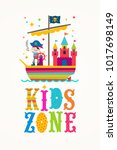 kids zone vector sign   cartoon ... | Shutterstock .eps vector #1017698149