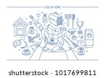 Stock photo dog in home contour banner with pet toys meds and puppy meals horizontal outline line art 1017699811