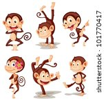 Stock vector illustraiton of comical monkey series 101770417