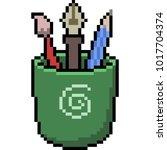vector pixel art stationary... | Shutterstock .eps vector #1017704374