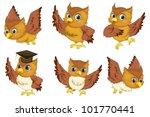 Illustraiton Of Comical Owl On...