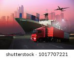 transportation  import export... | Shutterstock . vector #1017707221