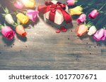 bouquet of multicolor roses... | Shutterstock . vector #1017707671