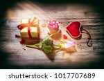 bouquet of multicolor roses... | Shutterstock . vector #1017707689