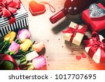 bouquet of multicolor roses... | Shutterstock . vector #1017707695
