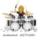 rock musician drummer famously... | Shutterstock .eps vector #1017711091