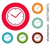 clock icons circle set. vector... | Shutterstock .eps vector #1017716071