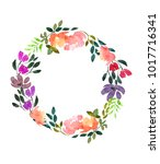 watercolor frame of flowers.... | Shutterstock . vector #1017716341