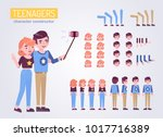 couple teenagers characters... | Shutterstock .eps vector #1017716389