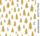 hand drawn forest silhouettes...   Shutterstock .eps vector #1017717961