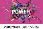 attractive 3d composition with... | Shutterstock . vector #1017722251
