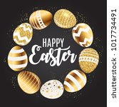 happy easter cute background... | Shutterstock . vector #1017734491