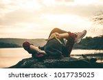 women tourists read books in... | Shutterstock . vector #1017735025