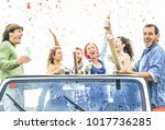 group of happy friends making... | Shutterstock . vector #1017736285