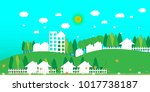 eco friendly homes | Shutterstock .eps vector #1017738187