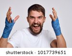 joyful man with boxing gloves  ... | Shutterstock . vector #1017739651