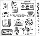 retro technology hand drawn... | Shutterstock .eps vector #1017744301