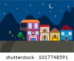 night houses and moon | Shutterstock .eps vector #1017748591