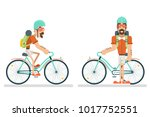 cycling travel geek hipster... | Shutterstock .eps vector #1017752551