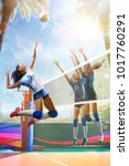 professional female volleyball... | Shutterstock . vector #1017760291